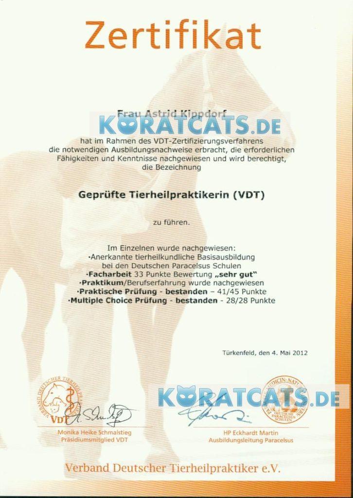 Zertifikat geprüfte Tierheilpraktikerin